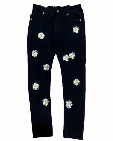 画像1: CROWOVER DAISY EMBROIDERY SKINNY PANTS BLACK / クロウオーバー  刺繍 スキニー パンツ ブラック  (1)